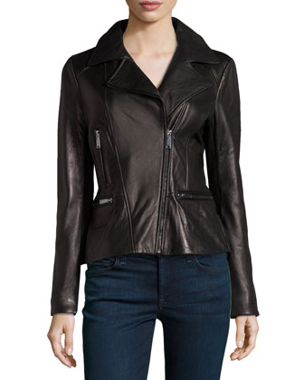 Colette Bomber Leather Peplum Jacket