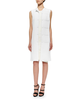 Mallory Twill Welt-Pocket Vest, White
