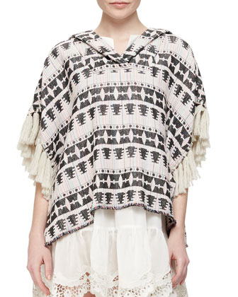 Tribal-Pattern Tweed Pullover & Crochet-Hem Voile Pullover Dress