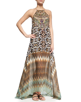 Sheer-Hem Printed Maxi Dress