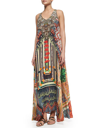 Printed Beaded Racerback Maxi Dress