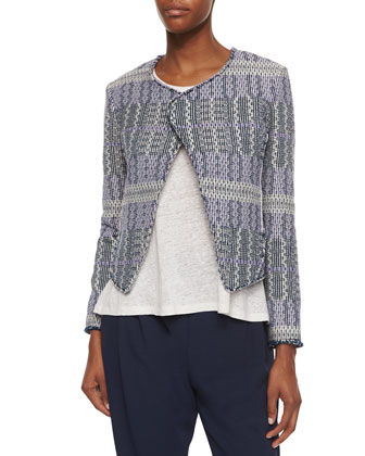 Angled Tweed Cropped Jacket, Loose Sleeveless Slub Top & Pleated ...