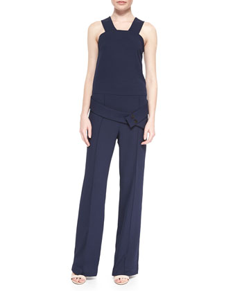 Sleeveless Belted Crepe Jumpsuit