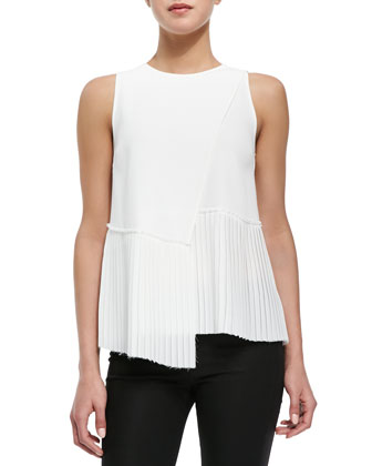 Woven Cropped-Front Zip Jacket, Asymmetric-Hem Top & Stretch-Knit ...