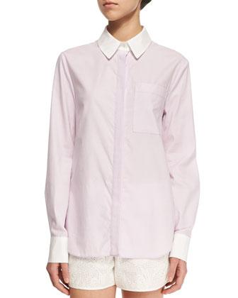 Long-Sleeve Layered-Hem Shirt
