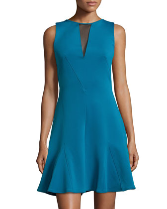 Sleeveless Mesh Back Flounce Hem Dress, Blue