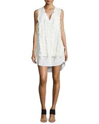 V-Neck Poplin Shirtdress with Fringe