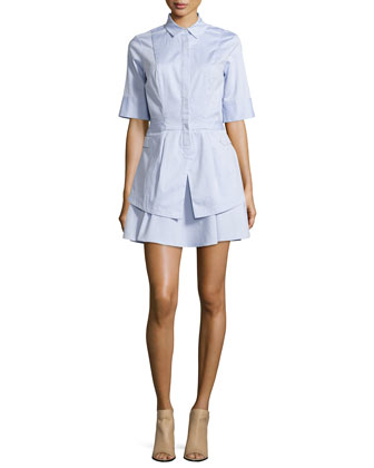 Half-Sleeve Flare-Skirt Shirtdress