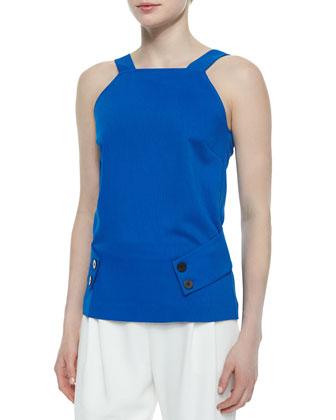 V-Back Belted Knit Top