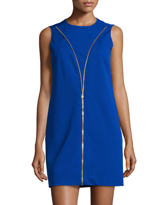 Sleeveless A-line Zip-Front Day Dress