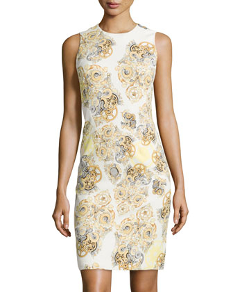 Sleeveless Print Sheath Dress