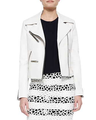 Anouk Leather Zipper Jacket, Gordon Cropped Sleeveless Crepe Top & Della ...