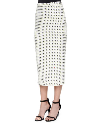 Long Dotted Pencil Skirt
