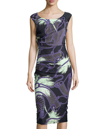 Tropical-Print Ruched Jersey Dress