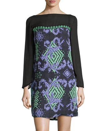 Geometric-Print Shift Dress