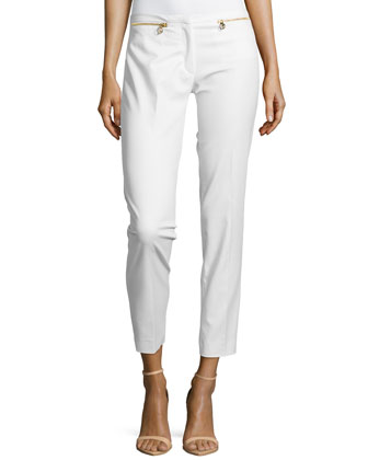 Skinny Pants W/ Zipper Pockets, White