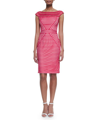 Mesh-Neck Cap-Sleeve Striped Dress