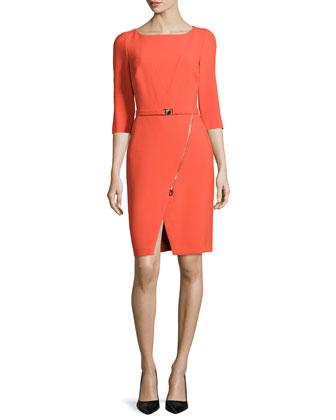Three-Quarter-Sleeve Knit Dress, Red