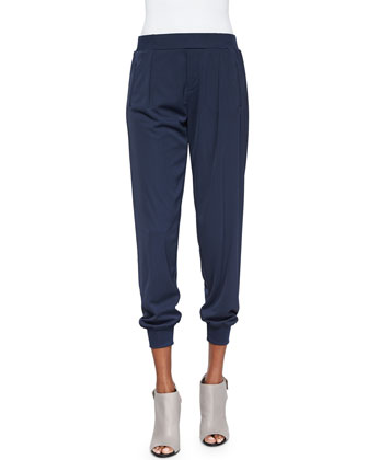 Pleated Pull-On Cuffed Pants