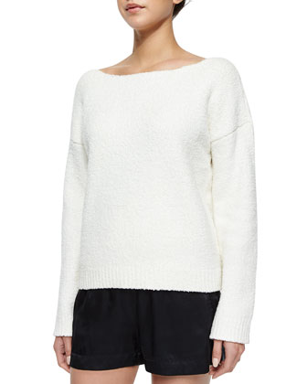 Boat-Neck Loose Knit Sweater