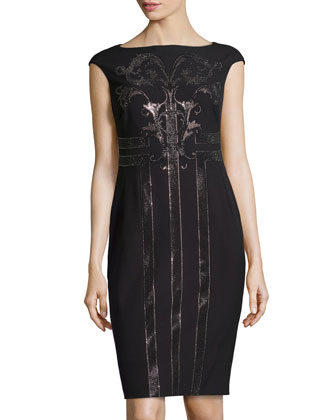 Cap-Sleeve Dress with Beaded Embroiderey