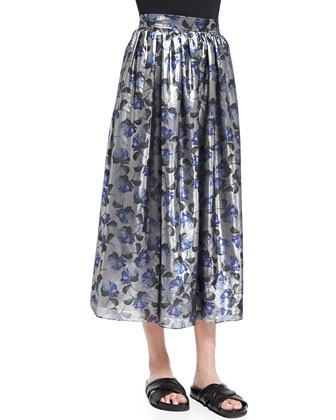Romilly Floral-Print Shimmery Skirt