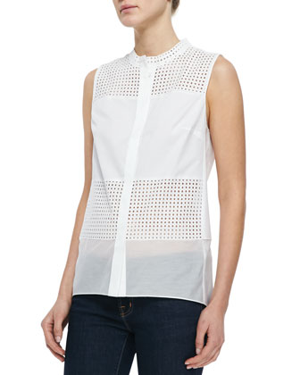 Isabel Sleeveless Perforated Blouse