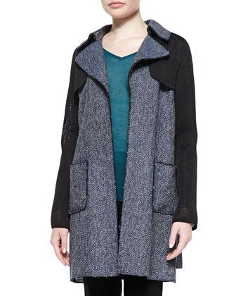 Lisa Tweed & Mesh Belted Coat