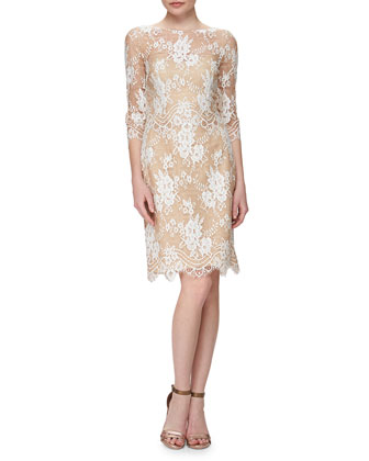Embroidered Lace Dress with Bateau Neckline