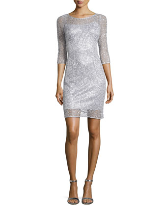 Sequin & Lace Cocktail Dress