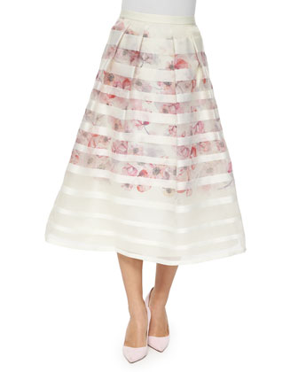 Striped & Floral Tea-Length Ball Skirt