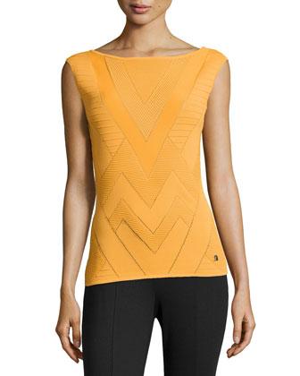 Sleeveless Ribbed Chevron-Knit Sweater