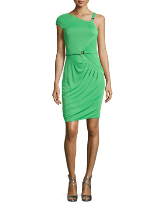 One-Sleeve Knit Dress, Grass Green