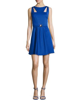 Sleeveless Cutout A-line Dress, Blue
