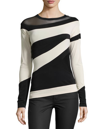 Asymmetric-Stripe Collage Top, Black/Parchment