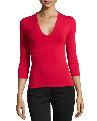 V-Neck Top with Built-In Bra