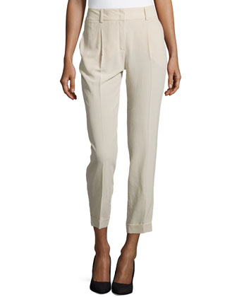 Pleated & Cuffed Cropped Silk Pants, Pebble