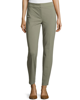 Silk Straight-Leg Ankle Pants, Sage