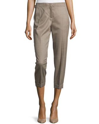 Wool Cropped Pants with Tapered Legs