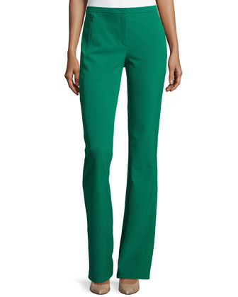 Boot-Cut Zip-Pocket Pants, Smaragd