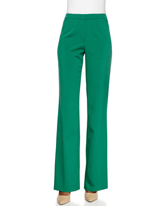 Flat-Front Boot-Cut Pants