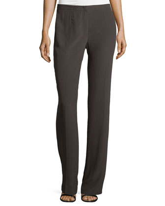 Boot-Cut Silk Pants, Granite