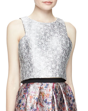 Sleeveless Metallic Jacquard Crop Top