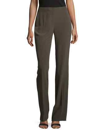 Boot-Cut Silk Pants, Olive