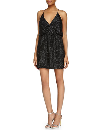 Beaded Halter Cocktail Dress, Black