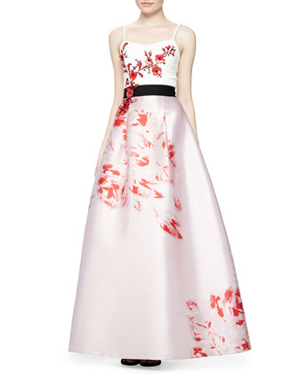 Sleeveless Embroidered Floral Ball Dress