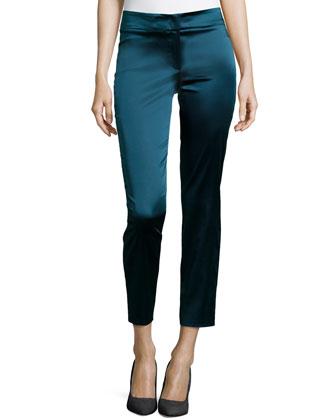 Satin Slim Ankle Pants, Blueberry