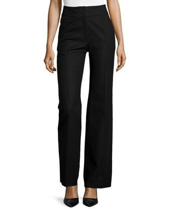 Banded Waist Wool Pants, Black