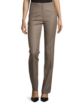 Wool-Blend Straight-Leg Pants, Tobacco