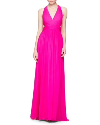 Halter Gown with Cutout Back, Fuchsia